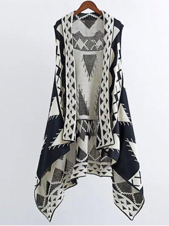 women Knitting Printed Cape Waistcoat - BLACK S