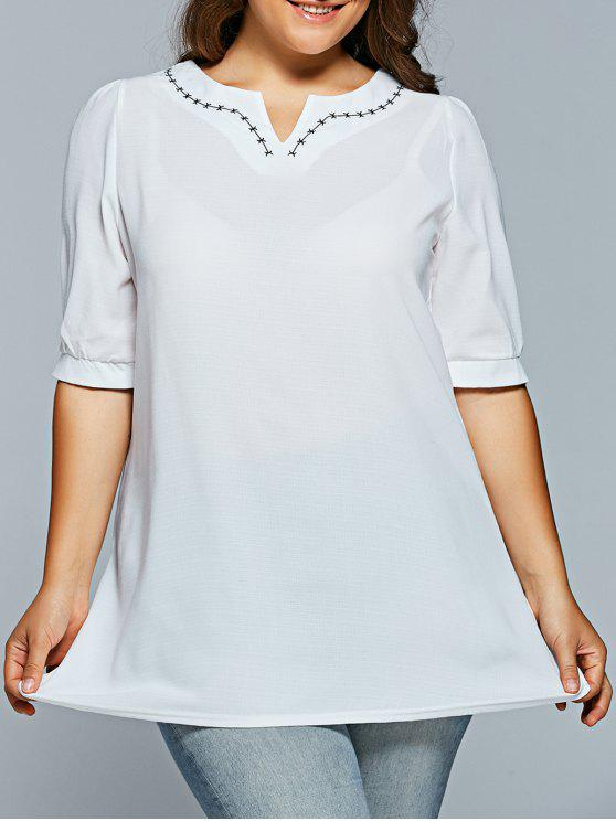 ladies V Neck Half Sleeve Plus Size Top - WHITE XL