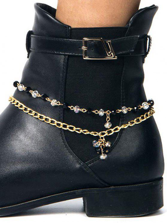 outfit Rhinestone Layered Boot Anklet - GOLDEN