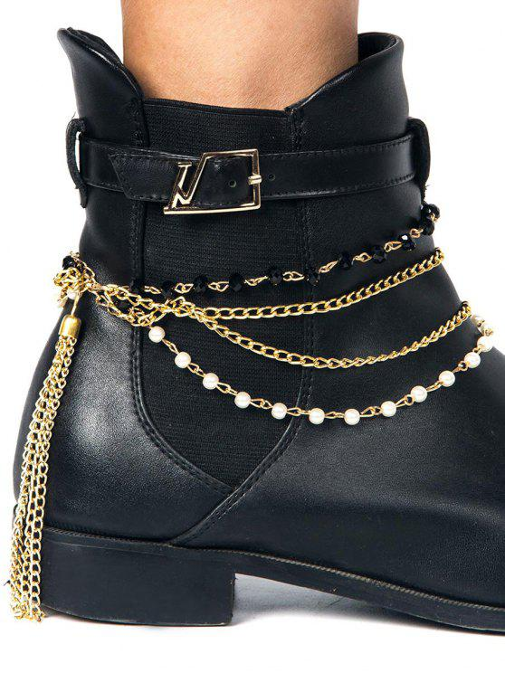 Tassel Layered perlé Boot Anklet - Or
