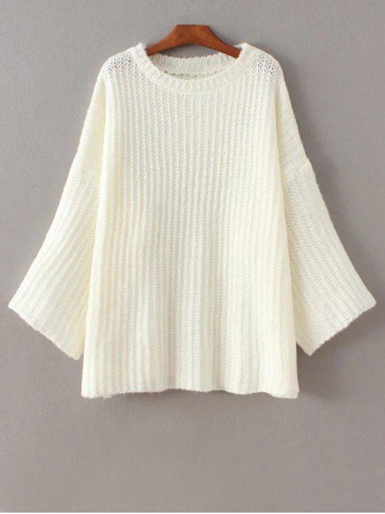 Casual de la llamarada de la manga del suéter - Blanco Única Talla