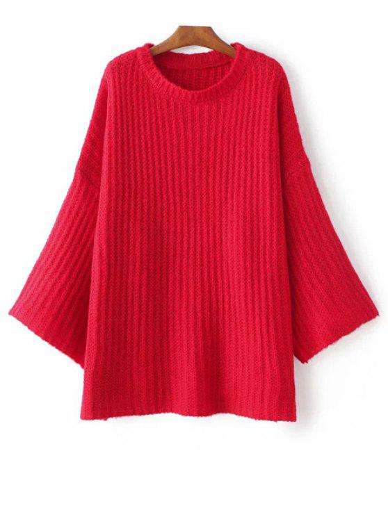 Pull over casual à manches évasées - Rouge TAILLE MOYENNE
