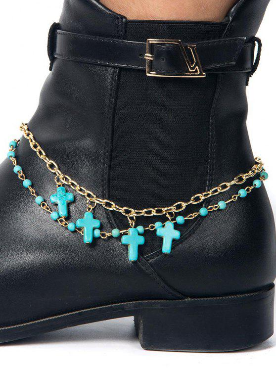 shops Beaded Cross Boot Anklet - ROSE GOLD