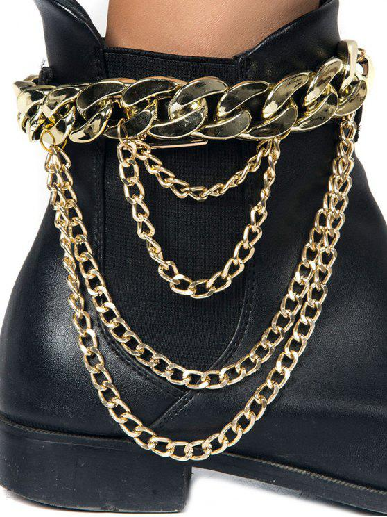 fashion Chunky Style Layered Chain Boot Anklet - GOLDEN