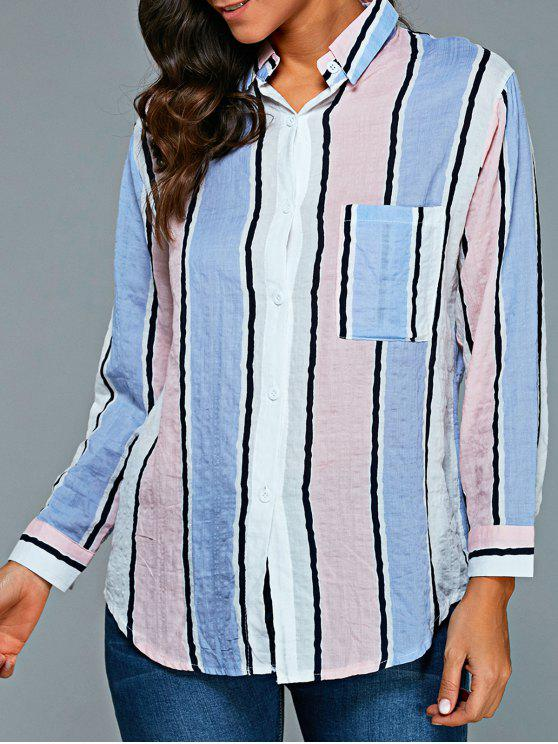 buy Vertical Stripe Oversized Shirt - COLORMIX L