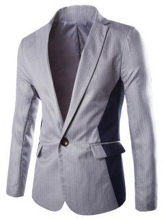 Vertical Stripe Lapel One Button Color Block Spliced Design Blazer - Light Gray L