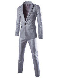 Lapel One Button Plaid Blazer + Pants Twinset Suits - Light Gray L
