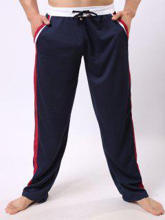 Con Cordones De Bloque Del Color Del Ribete De Empalme Pantalones De Pierna Recta Deportes - Azul Marino  M