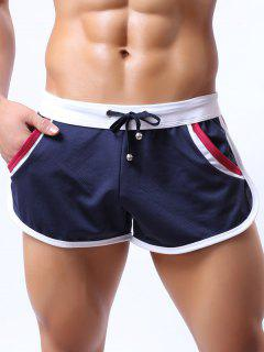 Lace-Up Color Block Splicing Home Shorts - Cadetblue M
