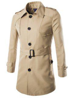 Turn-Down Collar Epaulet Design Lengthen Single-Breasted Coat - Khaki Xl