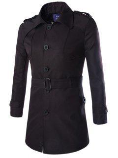 Turn-Down Collar Epaulet Design Lengthen Single-Breasted Coat - Black M
