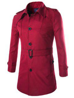 Turn-Down Collar Epaulet Design Lengthen Single-Breasted Coat - Wine Red L