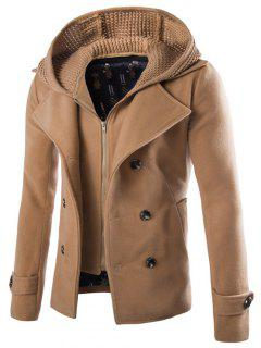 Detachable Knitting Hooded Double-Breasted Zip-Up Woolen Coat - Camel L