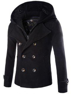 Detachable Knitting Hooded Double-Breasted Zip-Up Woolen Coat - Black M