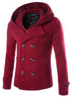 Detachable Knitting Hooded Double-Breasted Zip-Up Woolen Coat - Wine Red M