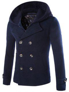 Detachable Knitting Hooded Double-Breasted Zip-Up Woolen Coat - Cadetblue M
