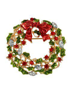 Enamel Bowknot Wreath Christmas Brooch - Red