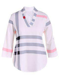 V Neck Stripes Plaid Top - Blanc Cassé Xl