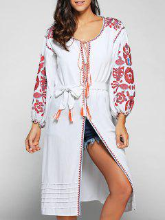 Lantern Sleeve Embroidered Belted Dress - White L