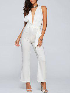 Back Criss Cross Jumpsuit - White S