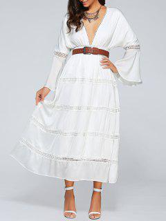 Low Cut Flare Sleeve High Waisted Maxi Dress - White S