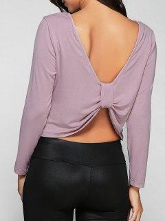 Back Knot T-Shirt - Light Purple L