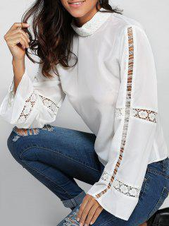 High Neck Crochet Trim Blouse - White 2xl