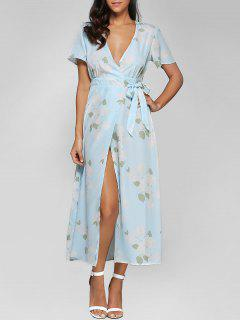 Floral Print High Slit Plunging Neck Wrap Dress - Light Blue S