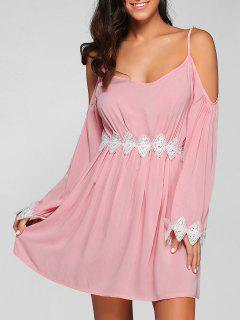 Cold Shoulder Lace Spliced Dress - Nude Pink Xl