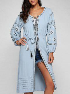 Lantern Sleeve Embroidered Belted Dress - Blue M