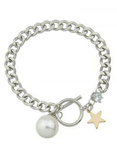 Artificial Pearl Toggle Star Charm Bracelet - Silver