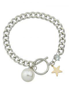 Artificial Perla Pulsera De Palanca Del Encanto De La Estrella - Plata