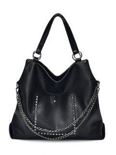 Rivets Chains Metal Ring Shoulder Bag - Black