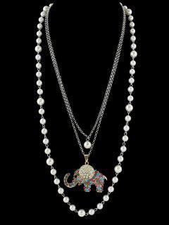 Colgante, Collar De Diamantes De Imitación De La Perla Elefante Artificial - Blanco