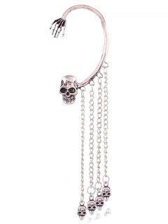 Skull Chain Tassel Ear Cuff - Silver