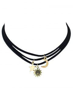 A Set Of Artificial Leather Choker Necklace - Black