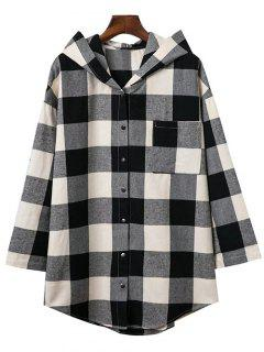 Hooded Oversized Plaid Shirt - M