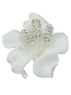 Rhinestone Floral Brooch - White