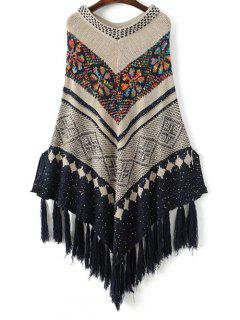 V Neck Jacquard Knit Poncho With Tassels - Off-white