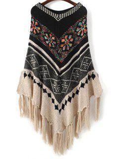 V Neck Jacquard Knit Poncho With Tassels - Black
