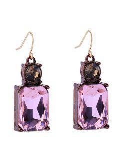 Vintage Faux Gem Rectangle Earrings - Pink