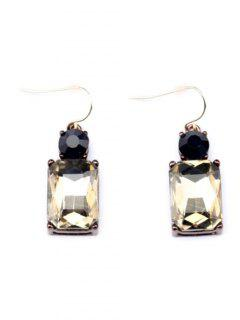 Vintage Faux Gem Rectangle Earrings - Champagne