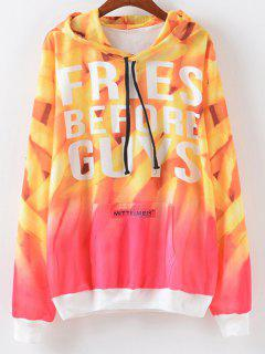 Letter Print Ombre Hoodie - Yellow And Red S