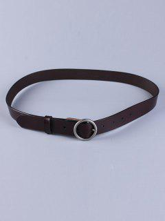 Round Pin Buckle Faux Leather Belt - Dark Coffee