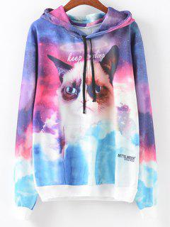 Front Pocket Cartoon Cat Print Hoodie - S