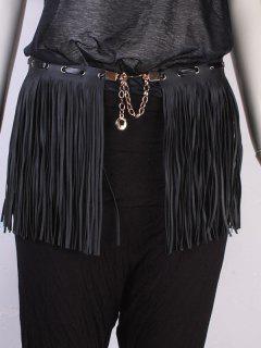 Long Tassel PU Peplum Belt - Black