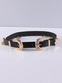Double Buckles Chain Tassel Belt - Black