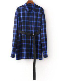 Shirt Oversize Plaid Avec Ceinture - Bleu M