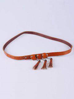 Tassel Pendant Knotted Belt - Brown