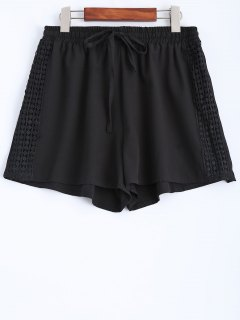 Black Lace Spliced Mid-Waist String Shorts - Black S